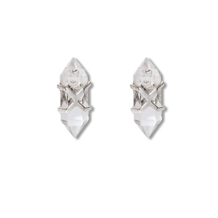 Sky criss crossed stud earrings - silver | $99. Stud-backed earrings crafted in .925 sterling silver with clear quartz crystal points and silver criss-cross detailing. Shop now: http://www.savethelastpinker.com.au/shop/sky-criss-cross-stud-earrings-silver/