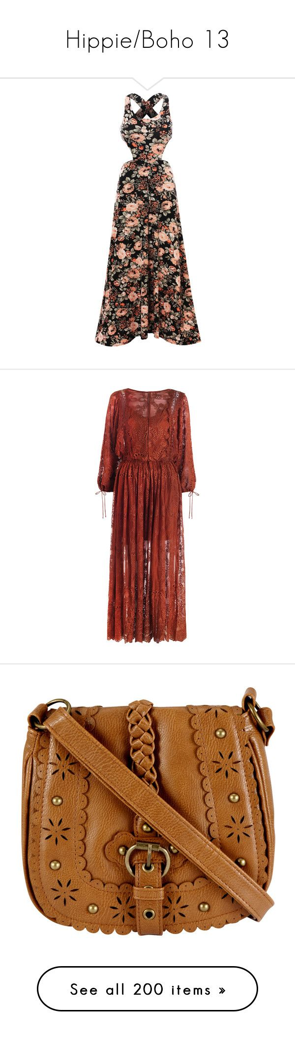 """""""Hippie/Boho 13"""" by ladyequestria ❤ liked on Polyvore featuring dresses, gowns, maxi dress, brown maxi dress, summer dresses, sleeveless maxi dress, cutout maxi dress, long sleeve dress, red dress and embroidery dress"""