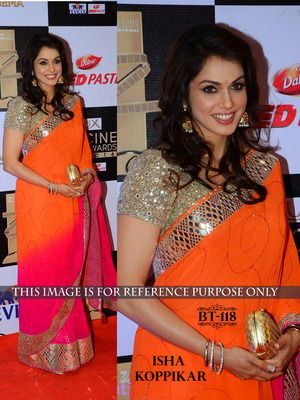 Orange Pink Plain Padding Georgette Saree With Blouse Bollywood Sarees Online on Shimply.com
