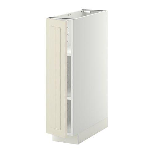 METOD Élément bas avec tablettes - blanc, Kroktorp blanc cassé, 20x60 cm  - IKEA