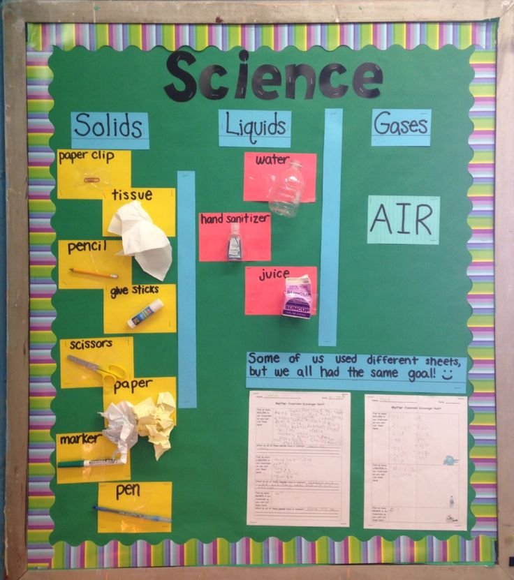 """Science bulletin board for states of matter. Conducted a """"classroom scavenger hunt"""" for solids, liquids, and gases using differentiated worksheets, then hung up some examples and student work. Very fun :)"""