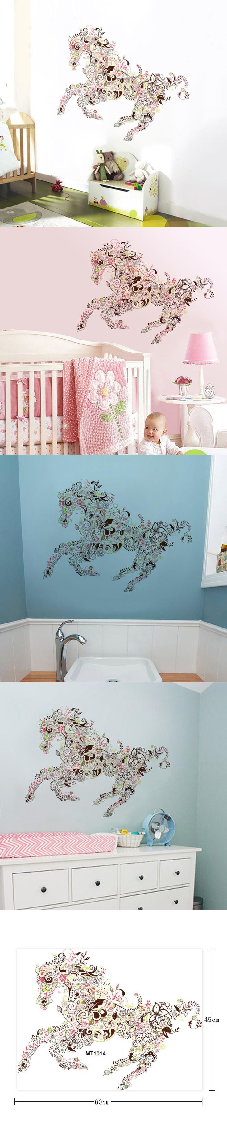 45*60cm Creative Colorful Horse Pattern Wall Stickers For Kids Room  Livingroom Waterproof Art Horse Mural Wall Decal Home Decor Part 58
