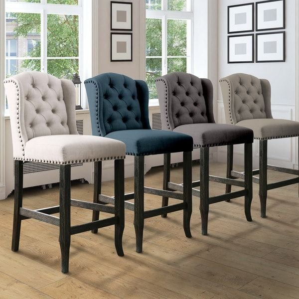 Furniture of America Telara Contemporary Tufted Wingback 24-inch Counter Stool (Set of 2)