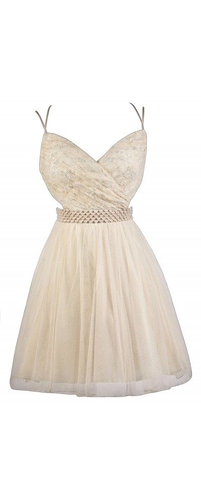Lily Boutique Pearly Gates Metallic Lace Embellished Cream Party Dress, $62 Cream and Gold Lace Party Dress, Cute Prom Dress, Homecoming Dress, Semi-formal Dress, Beige Lace Dress www.lilyboutique.com