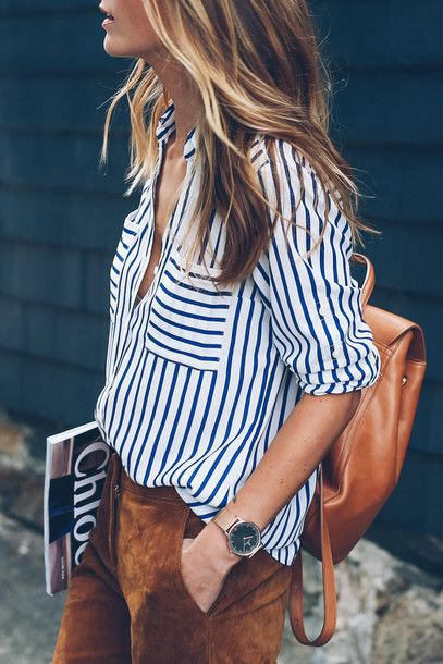 Shirt: tumblr striped leather backpack brown backpack backpack pants suede suede pants brown gold