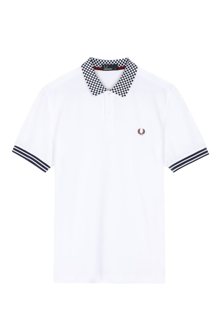 Fred Perry - Chequerboard Collar Pique Shirt White