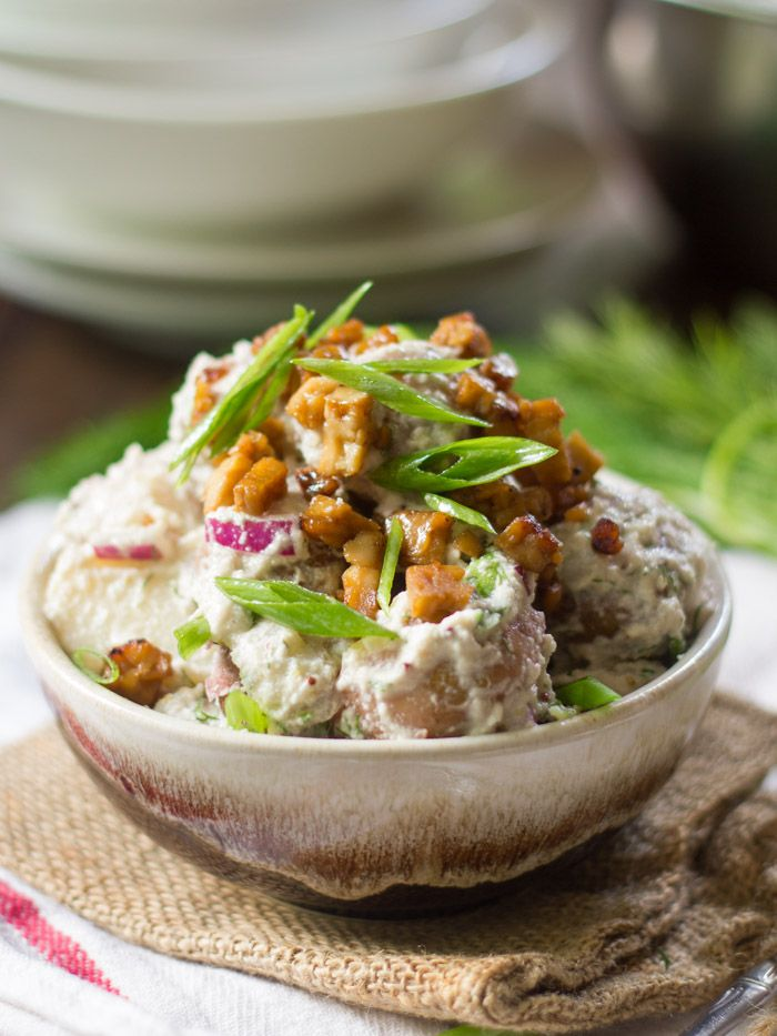 CREAMY DILL VEGAN POTATO SALAD WITH (OPTIONAL) TEMPEH BACON BITS  This flavorful Vegan Potato Salad is made with tender red potatoes in creamy cashew dressing with fresh dill, red onion and a (totally optional) sprinkling of tempeh bacon.