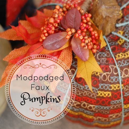 Modpodged Faux Pumpkins ~ so cute and a great DIY project for kids.