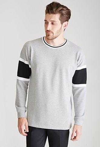 Striped Crew Neck Sweatshirt   21 MEN   #f21men