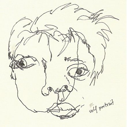 BLIND CONTOUR drawing; frontal self-portrait by 'seeks' posted on http://theseekspeak.blogspot.com/2005/08/blind-contour-friday-03.html