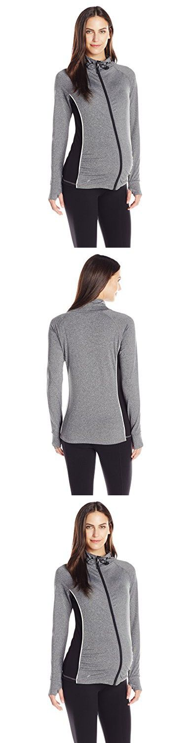 Ripe Maternity Women's Flow Zip-Up Active Jacket, Charcoal, Medium