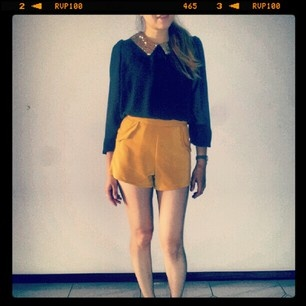 Today's outfit. Chiffon top with sequin collar AUD$42 and mustard shorts (launching soon) @kikuboutique (Kiku Boutique) 's Instagram photos