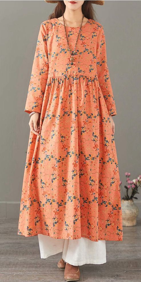 295cf9adb86e Fashion Loose Cotton Linen Floral Maxi Dresses Women Casual Clothes 1398