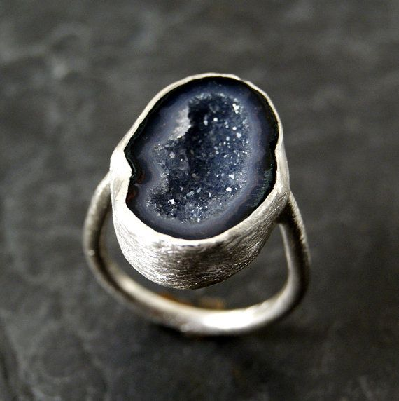looks like a little galaxy    Dark Lavender Geode Ring in Sterling Silver by anatomi on Etsy, $90.00