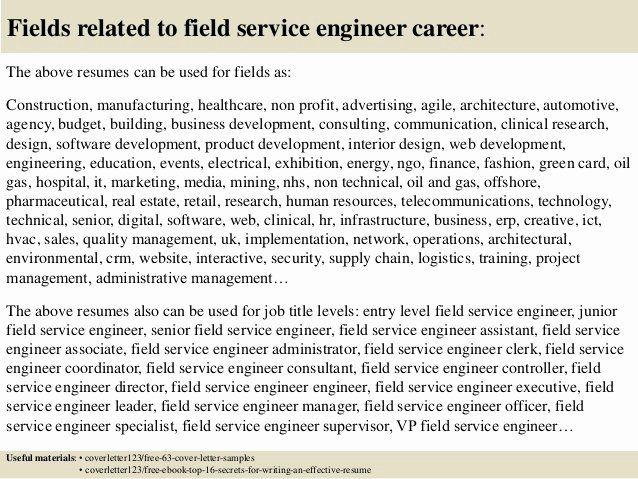 Field Service Engineer Resume Elegant Top 5 Field Service Engineer Cover Letter Samples In 2020 Resume Sample Resume Cover Letter Example