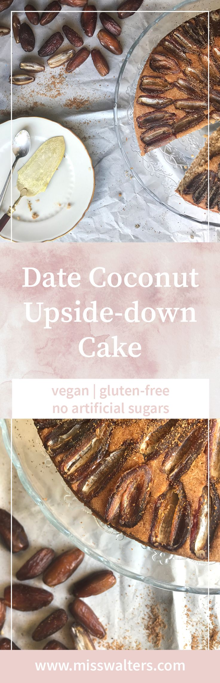 A rich date coconut up-side down cake that works perfectly for a late summer tea party.