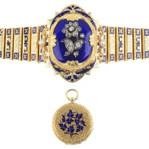 LOT:53 | A 19th century 18ct gold diamond and enamel bracelet, attributed to J.S. Rossel with concealed J.F. Bautte & Cie pocket watch.