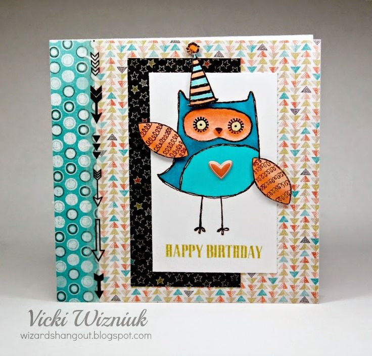 6x6 birthday card using CTMH What A Hoot! set (August stamp-of-the-month) and new CTMH Chalk It Up papers.  by Vicki Wizniuk