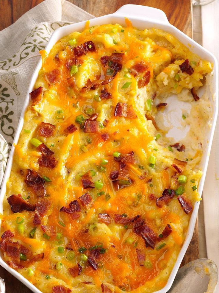 Bacon, cheddar and sour cream turn ordinary potatoes into an extraordinary casserole. | Twice-Baked Cheddar Potato Casserole Recipe from Taste of Home
