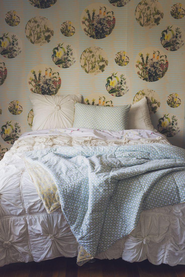 Rosette quilt in Confetti with Lemon Tree quilt and Euphemia.5 wallpaper LAZYBONES.COM.AU