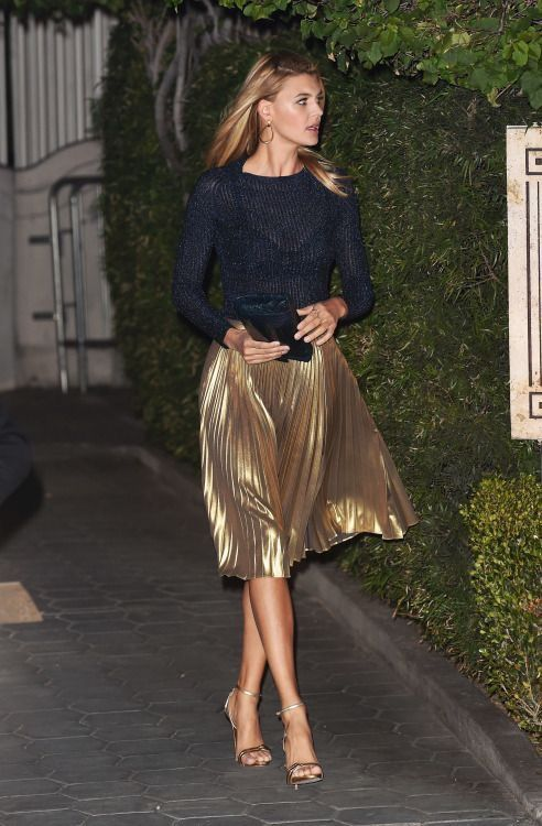 Gold pleated skirt, shimmery knit top #New Year's Outfit #New Year's Skirt