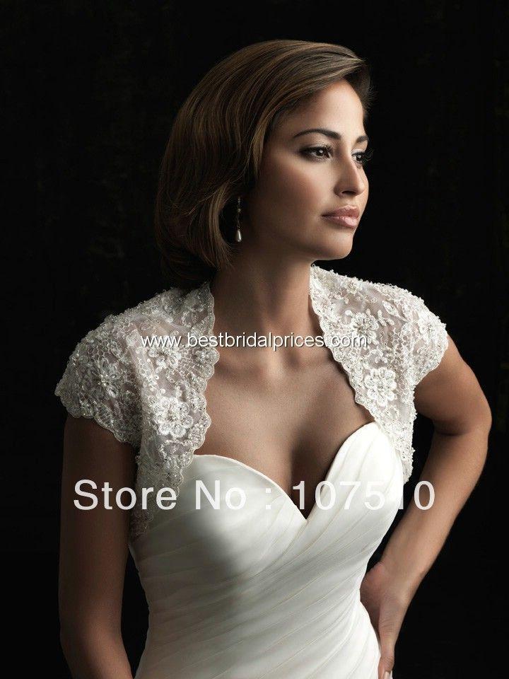 Стиль BE007 свадьба куртка с коротким рукавом re вышивка кружева бисером свадебное болеро свадебные платья
