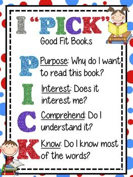 When using a daily five model, It is important to teach our students how to pick good fit books, just as important as teaching emergent readers the three ways to read a book. This is a great chart to display in your classroom library to remind readers how to choose a book fit for them and their personal reading level.