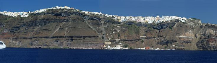 Panoramic photo (8,532 pixels wide!) of #Fira the main town on #Santorini Island, #Greece: Panoramic View, Santorini Principal, Santorini Islands, Santorini Greece, Favorite Places, Greece Mainland, Principal Cities, Greek Islands, Largest Islands