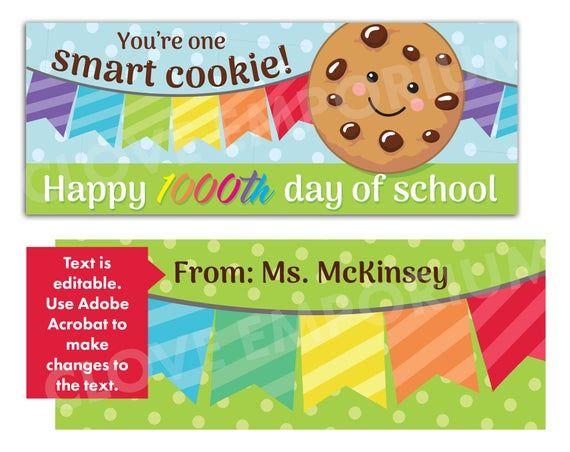 1000th Day Of School Bag Topper Instant Editable Download Etsy 100 Days Of School School Celebration Kindergarten Groundhog Day