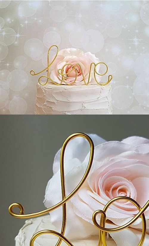 LOVE Wedding Cake Topper in GOLD Finish by AntoArts, Wedding Cake Decoration, Anniversary Cake Topper, Bridal Shower Decoration, Engagement Cake Topper