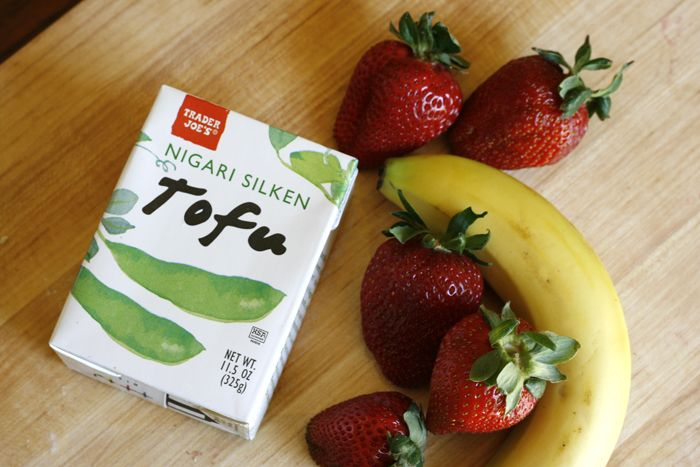 Strawberry Banana Tofu Smoothie - Well Vegan  APPEALS TO CHILDREN BUT HEALTHY If you use a different tofu brand, measure the correct amount.