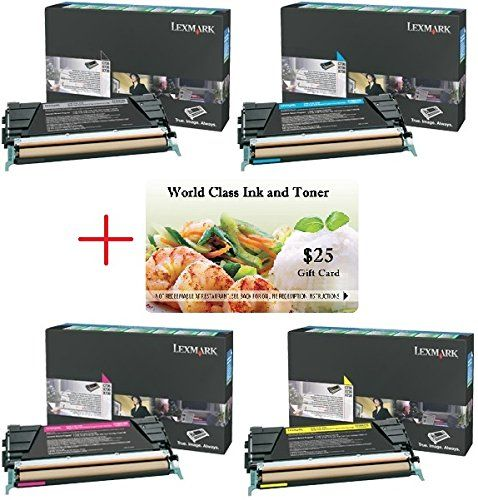 WCI© Best Value Pack® of All (4) Genuine Lexmark Toners + FREE $25 Restaurant Gift Card. (1) each of: 24B5807/24B5804/24B5805/24B5806). KCMY. For Use In: Lexmark CS736/XS734/XS736/XS738/XS748 Series.