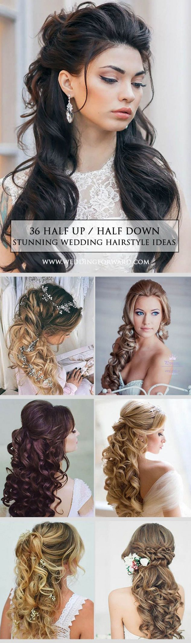 Are you thinking about a half up/half down braids wavy or a celebrity-inspired wedding hairstyles for your big day? These elegant curly half up/half