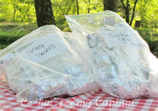 Pre-made dinner pockets for cooking while camping. I love the idea of labeling them in separate ziplock bags.