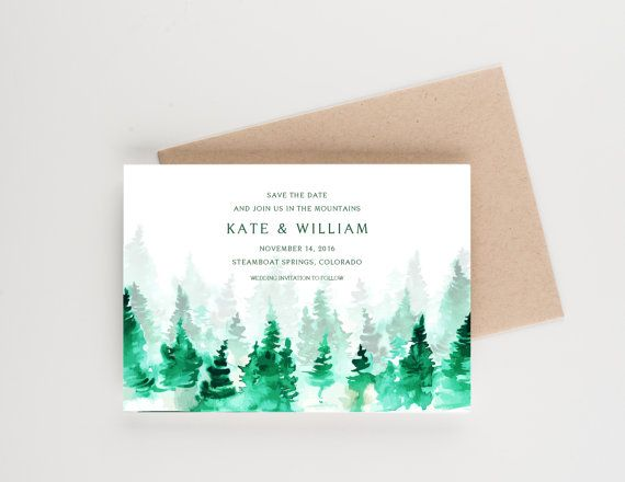 This save the date is perfect for a woodland wedding or an outdoor reception in the mountains. It can be reworked for a wedding invitation,