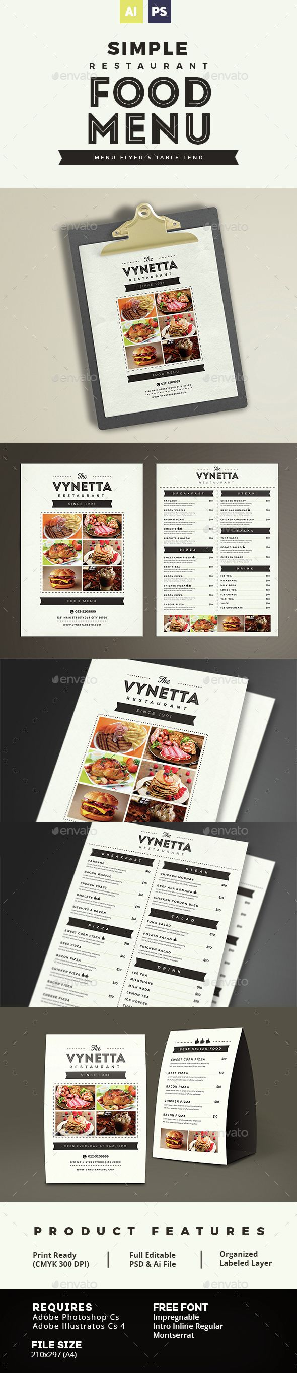 Simple Restaurant Food Menu Template PSD, Vector AI. Download here: http://graphicriver.net/item/simple-restaurant-food-menu/14977784?ref=ksioks