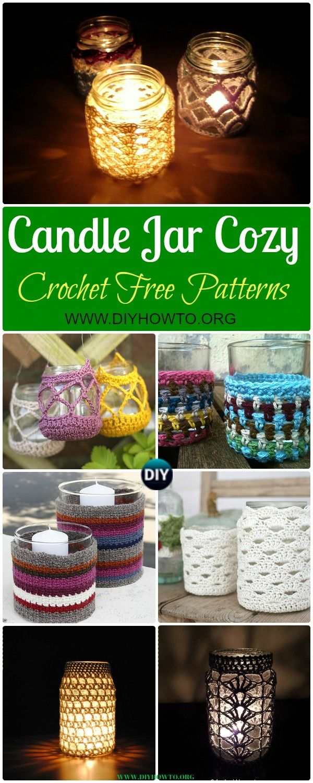 Collection of Crochet Candle Jar Cozy Free Patterns: Crochet Mason Jar Cozy, Crochet Tealight Jar Cozy via @diyhowto