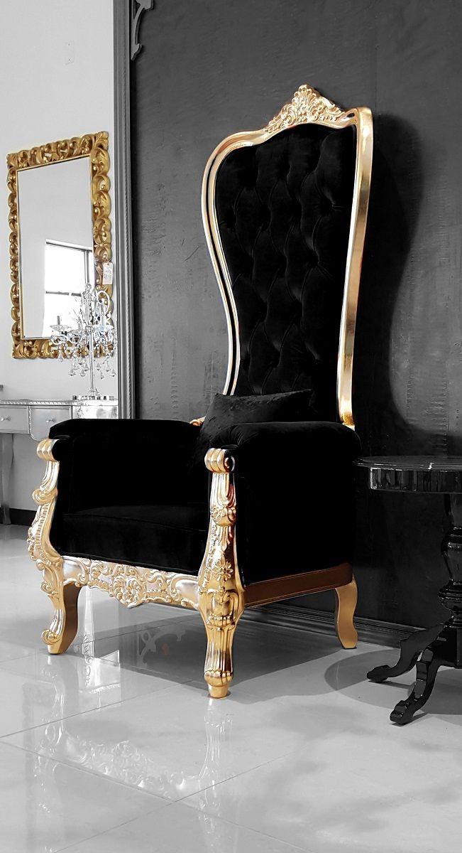 Baroque Throne Chair Queen High Back Chair in Black Velvet ...