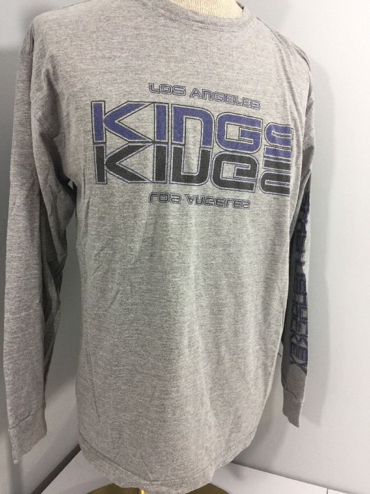 Official Los Angeles Kings Men's Long Sleeve Shirt Gray NHL Blue line XL  #LosAngelesKings
