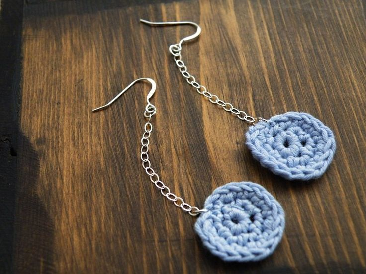 Long sterling silver crochet earrings french cotton pastel Placid blue shabby chic