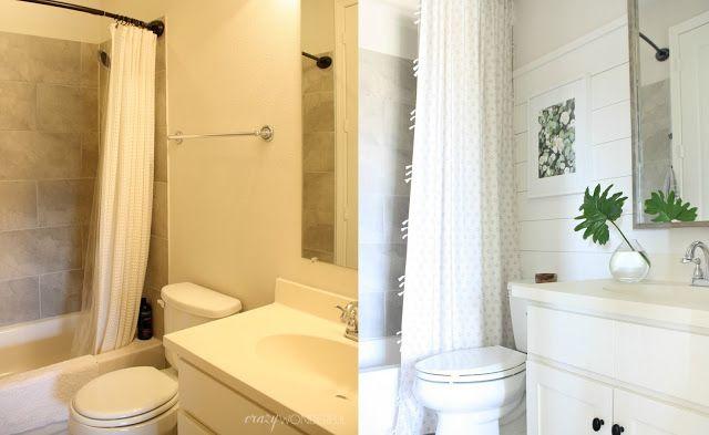 Crazy Wonderful: builder grade bathroom makeover, DIY shiplap, neutral bathroom, bathroom before and after, framed bathroom mirror, affordable bathroom makeover idea