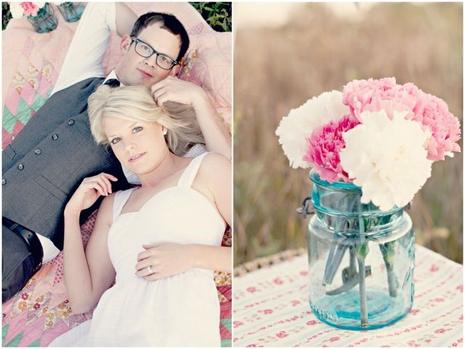 Simply Sweet And Stylish Picnic Engagement Shoot - flowers