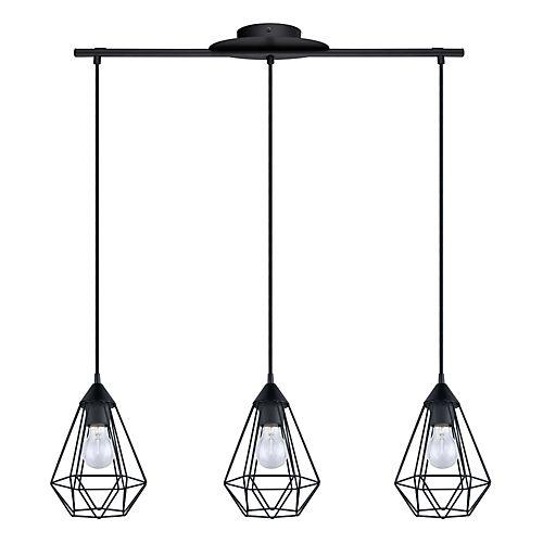 Tarbes - Suspensions-Suspensions, Plafonniers Suspension géométrique à 3 lumières en acier noir L79cm
