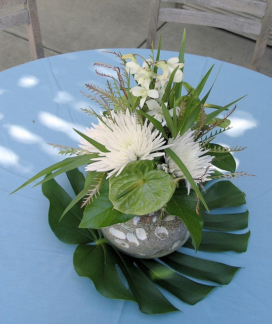 Love The Palm Frond As A Placemat Tropical Centerpiece By