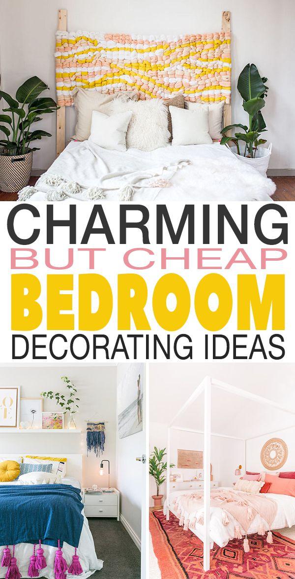 Charming But Cheap Bedroom Decorating Ideas The Budget Decorator Cheap Bedroom Ideas Cheap Bedroom Decor Bedroom Diy