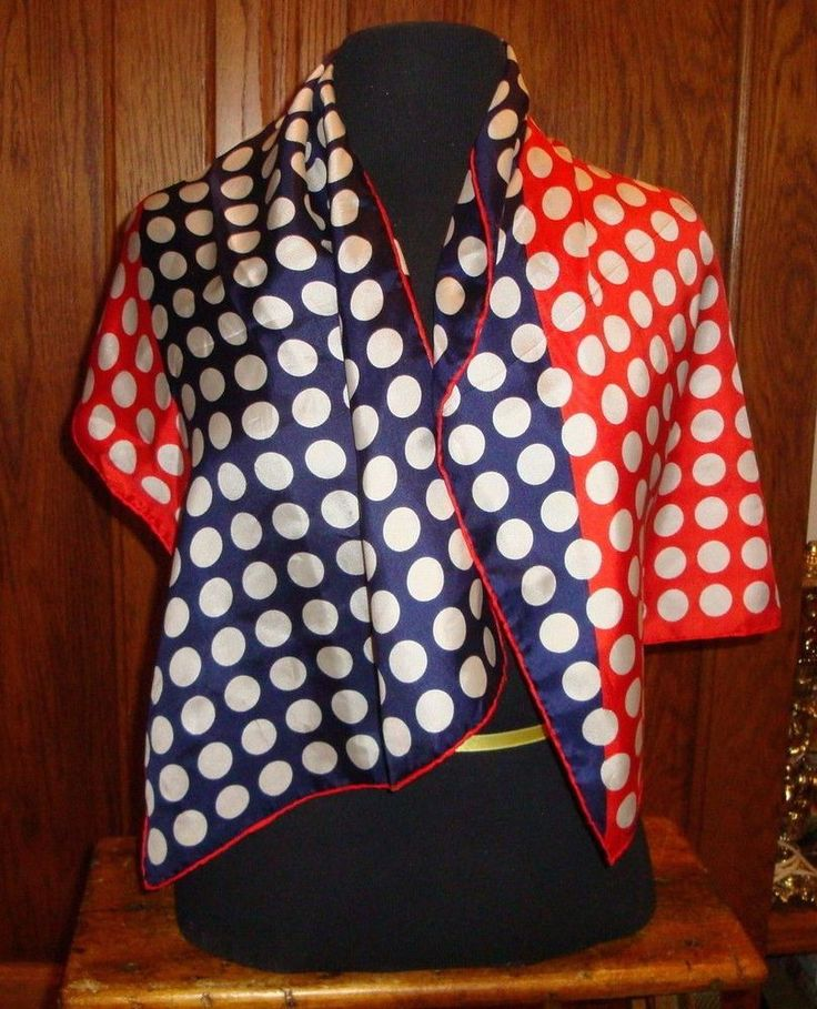 Echo Rectangular Scarf Polka Dot Red White Blue #Echo #RectangularScarf