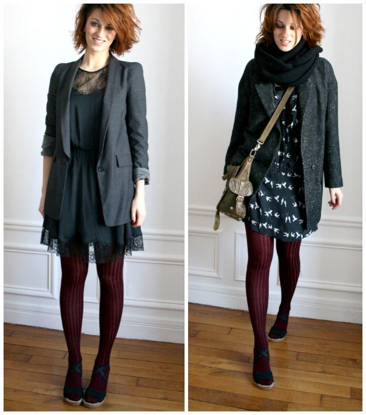 Robe hiver avec collant noir