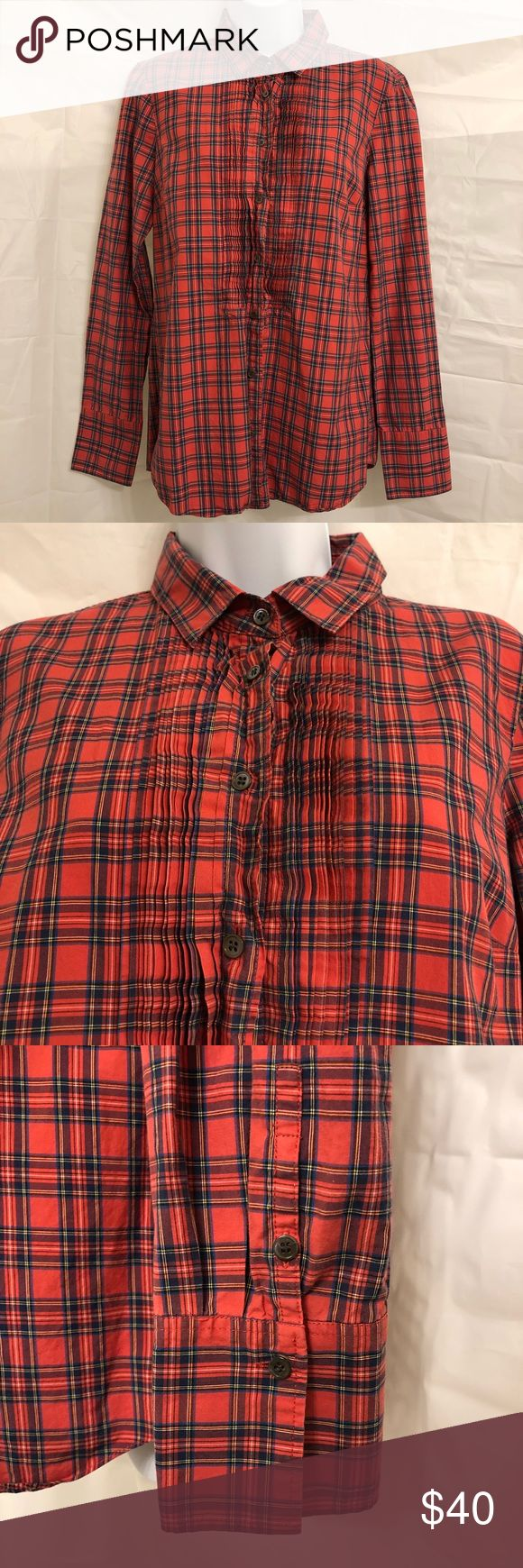 """J Crew button down J. Crew button down flannel. """"Tartan tuxedo shirt""""  SOLD OUT on J. Crew website  100% cotton NO TRADES  Bundles over $50 get free shipping J. Crew Tops Button Down Shirts"""