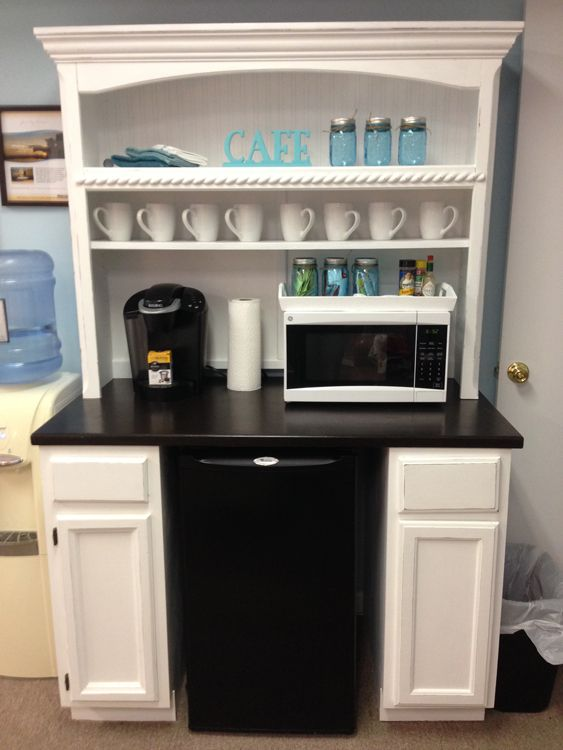 "Superb Curb Refurb - Custom Coffee Bar made from 2 12"" base cabinets, 1 Repurposed Coffee Table Top, and a Desk Hutch on top! GENIUS! www.SuperbCurbRefurb.com  #superbcurbrefurb #coffeebar"