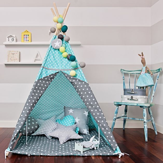 Toys – Teepee Tent 'breath of Turquoise' – a unique product by FUNwithMUM on DaWanda